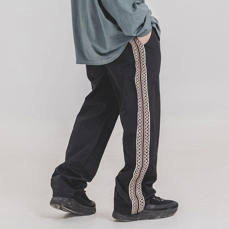 Hip Hop Chinois côté Broderie Lâche Casual Pantalon Hommes Et Femmes Harajuku Mince Élastique Taille Large-Jambe Baggy Pantalon Oversize