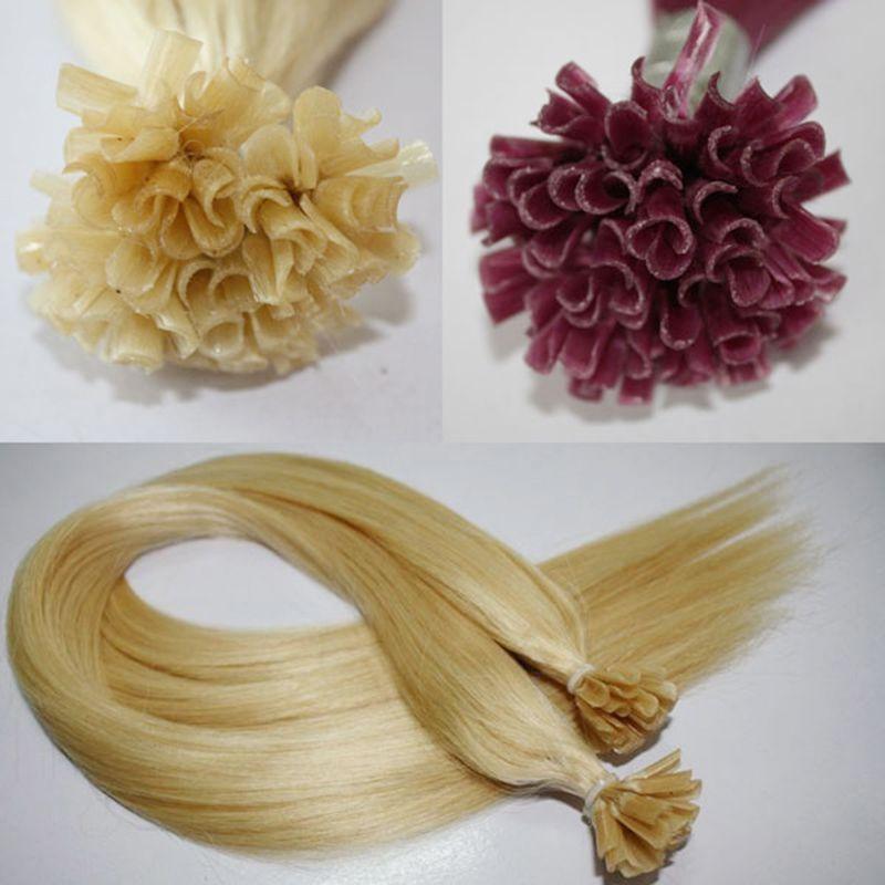DHL Fedex Free Silk Straight Естественный коричневый красный цвет бразильский малазийский индийский перуанский фьюжн гвоздь Подсказка Remy девственницы человеческих волос