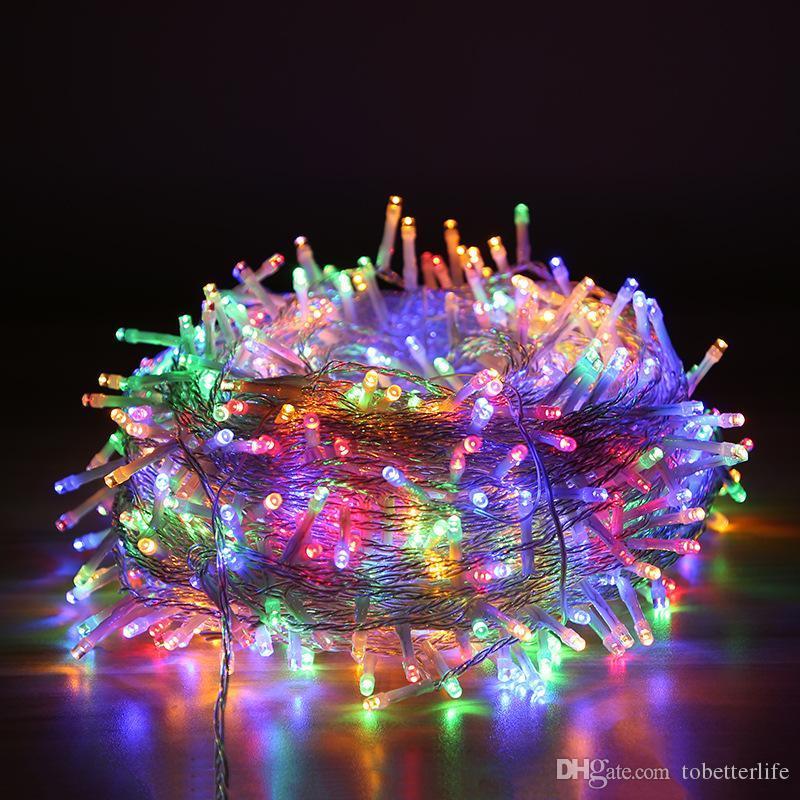 100LED شرائط الصمام ضوء سلسلة 10M مصباح ضوء الديكور 110V 220V حصول على حفل زفاف أدى وميض الإضاءة أضواء الجنية زينة عيد الميلاد