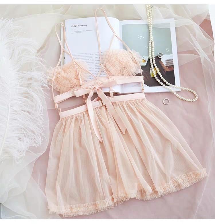 QATWS sexy chemise de nuit d'orange pyjamas Sous-vêtements pyjamas et de sous-vêtements ensemble hipster rose A- 026 mesh coeur creux Coupe chemise de nuit sexy transparent