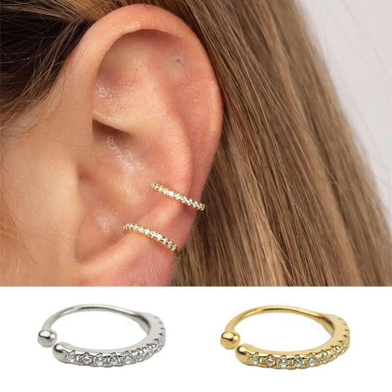 Polsino dell'orecchio minuscolo di 1pc, delicata conchiglia Huggie CZ non penetrante del naso del naso del diamante dei monili di modo dei monili della donna regalo