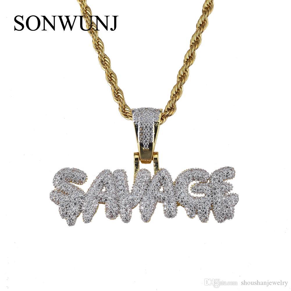 Hip Hop SAVAGE Letter cobre pingente Micro pavimentar com pedras CZ colar 24inch Cadeia Rope CN040