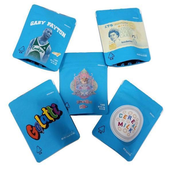 Biscotti California SF 8th 3.5g Mylar Borse infantile per bambini 420 Imballaggio Ghiatti Cereale Latte Gary Payton Cookie Biscotti Borsa 3.5 g Libera