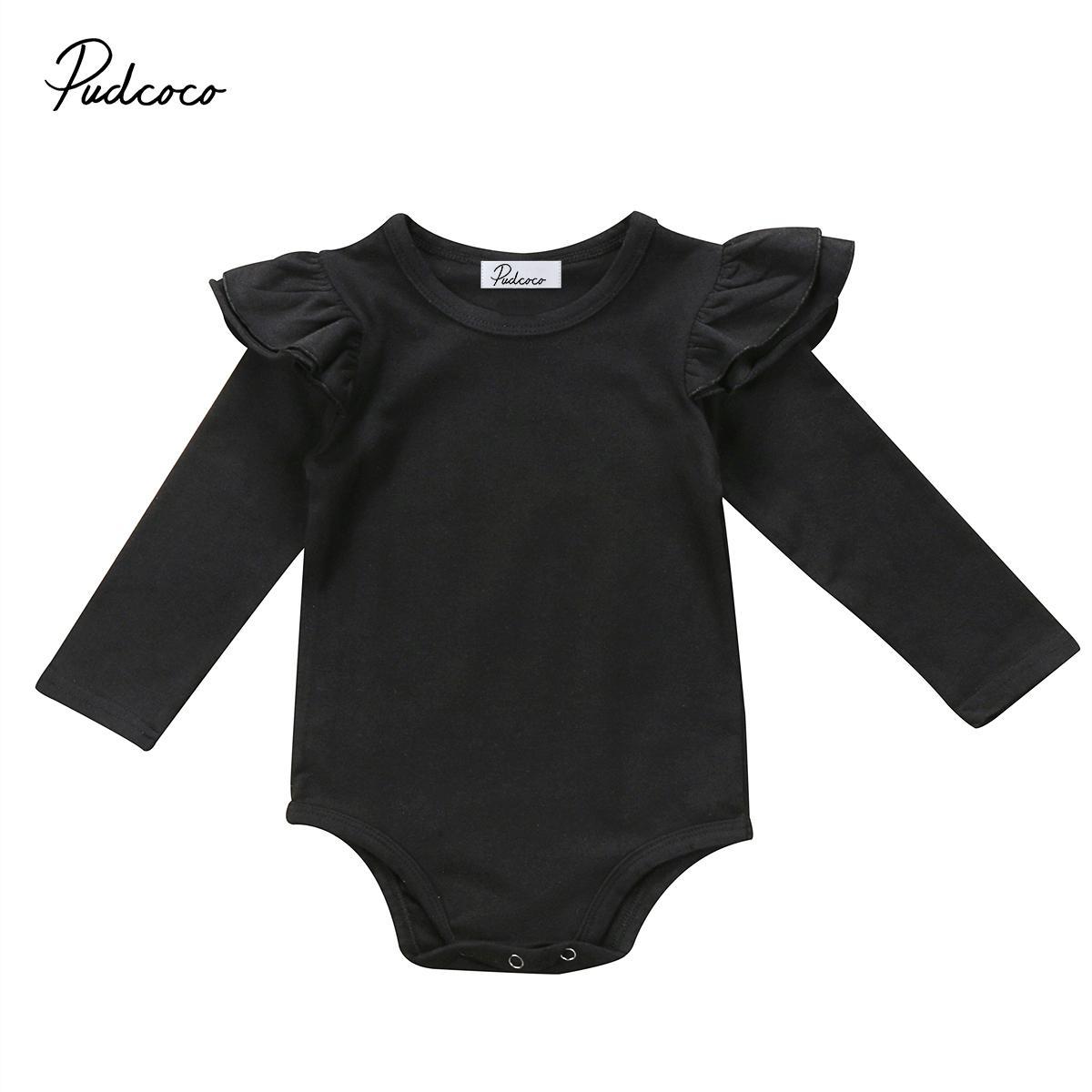 0-18M Sevimli Kız Bebek Romper Sonbahar Katı Renk Elbise Bebek Pamuk Uzun Ruffle Kol Jumpsuit Casual Giyim Dedikodu Kostüm