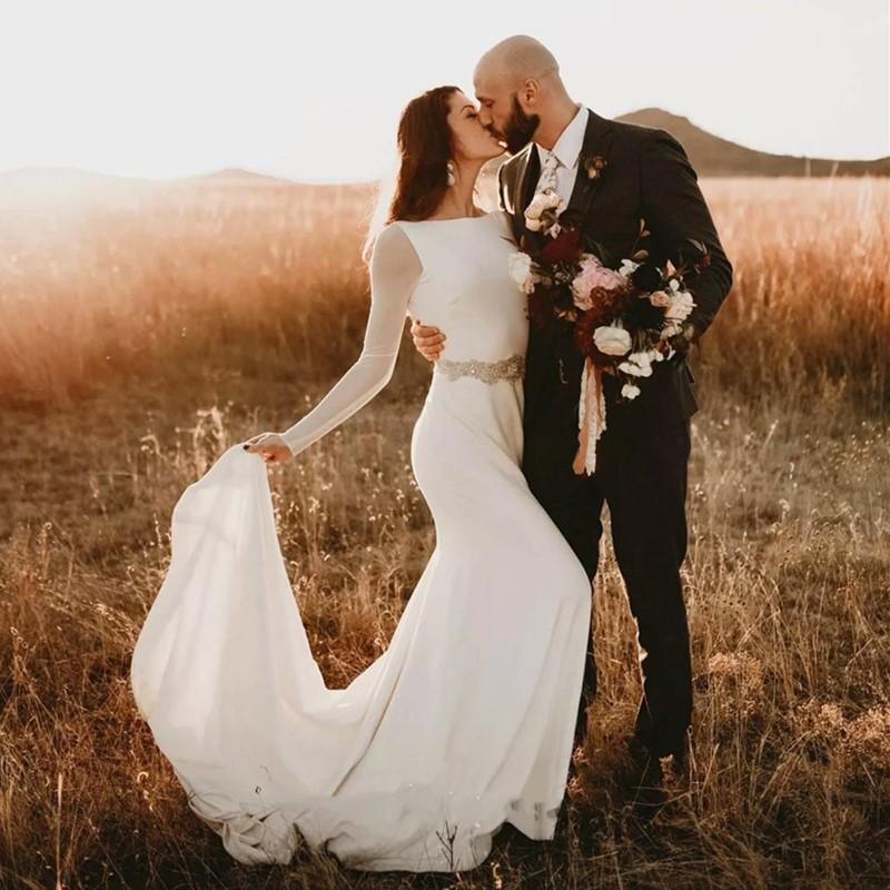 Bohemian Bride Wedding Dresses Long Sleeve Open Backless Crystals Beading Waist Mermaid Bridal Gowns Vestido De Noiva