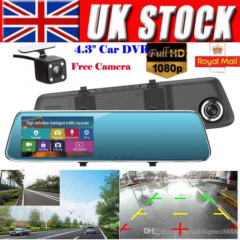 4.3 '' FHD 1080P Lente dual 140 Grados Cámara DVR para automóvil Espejo retrovisor Digital Dash Cam Grabadora de video Cámara frontal y trasera LCD