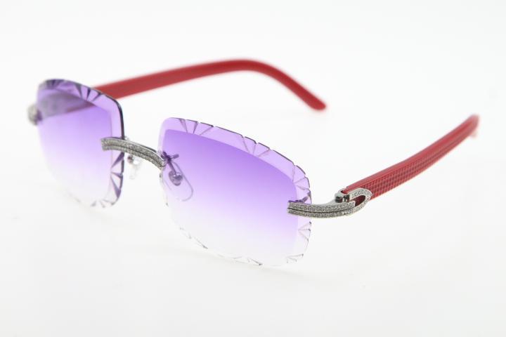 Gol all'ingrosso di alta qualità occhiali senza montatura doppia fila Diamante Mix Plank 3524012-B Occhiali da sole in oro struttura in metallo occhiali da sole unisex C Decoration