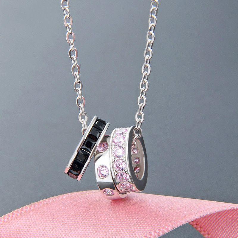 Joyería S925 plata collar de tres anillos buena suerte dulce del viento manera pendiente del diamante