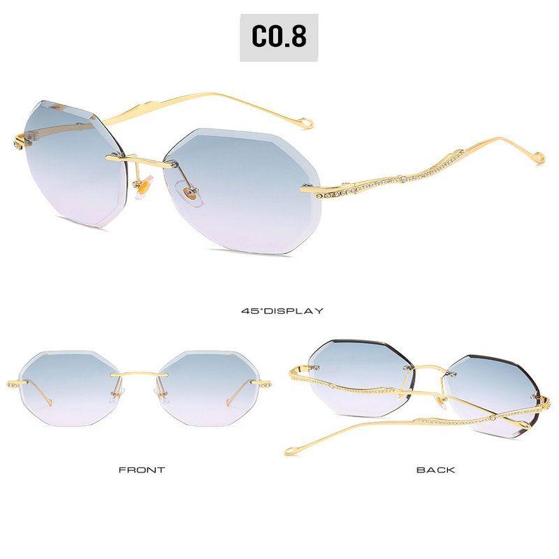 Luz retro sem moldura SUNGLASSE Frameless óculos vintage Cor óculos de sol Mulheres 2019 Transparente Óculos Eyewear Óculos Super Kksit oKLV