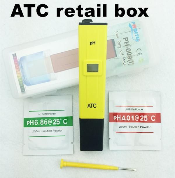 Freeshipping 10 adet / grup ATC PH METRE Su Asit Test Cihazı perakende kutusu ile DIJITAL Metre Havuz Su Asitliği Cep Kalem
