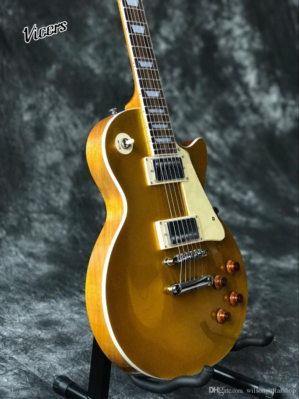handwork 6 cordas da guitarra elétrica padrão, Mahogany body..Golden fotos top guitarra.real