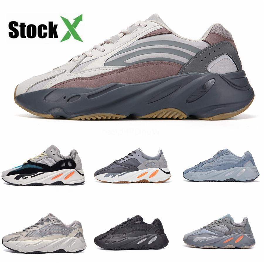 2020 Nuevo 700 Zapatos Vanta Runner Kanye West Geode estático de malva de onda para hombre de las mujeres atléticas inercia Og zapatos grises sólidas zapatillas deportivas 36- # DSK478