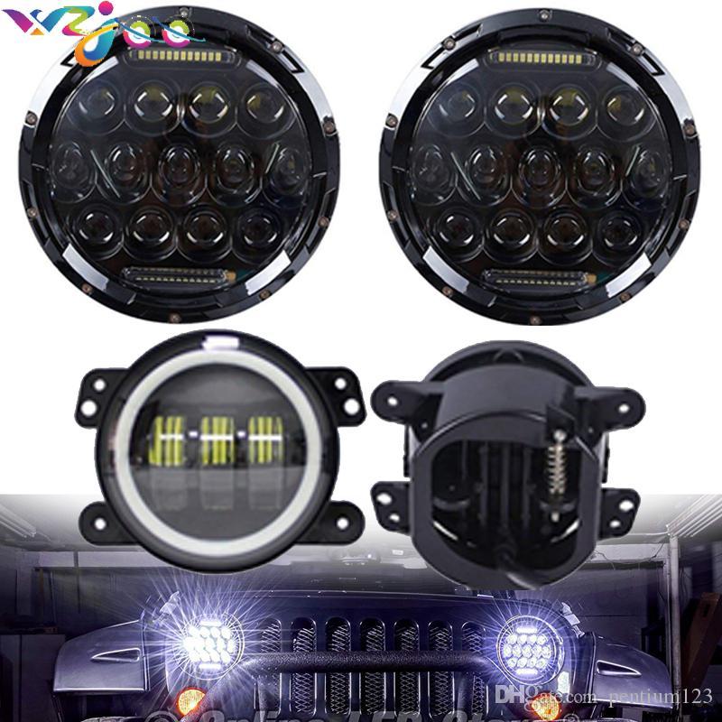 Jeep Wrangler JK için LJ 7 inç LED Farlar / Beyaz DRL / Amber Dönüş Sinyali + 4 inç LED Sis Farları Beyaz DRL Halo Yüzük