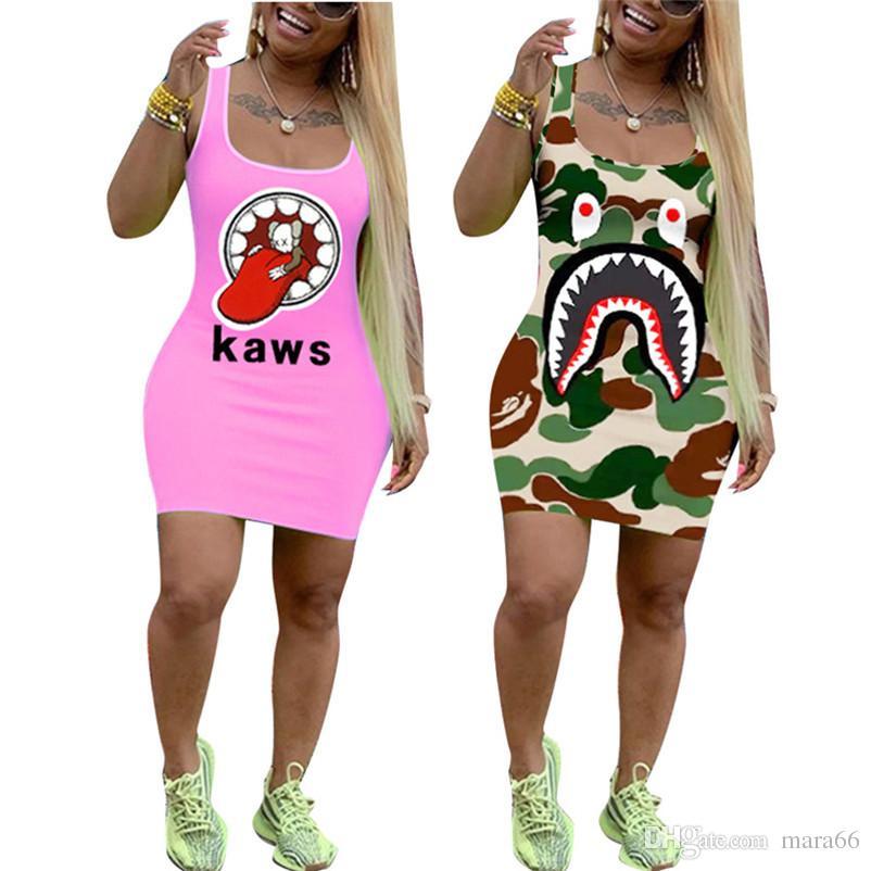 Женщины платья с акульим принтом сексуальные мини-юбки дизайнер летняя одежда уличная мода шеи совок тощий платье без рукавов горячий продавать 960