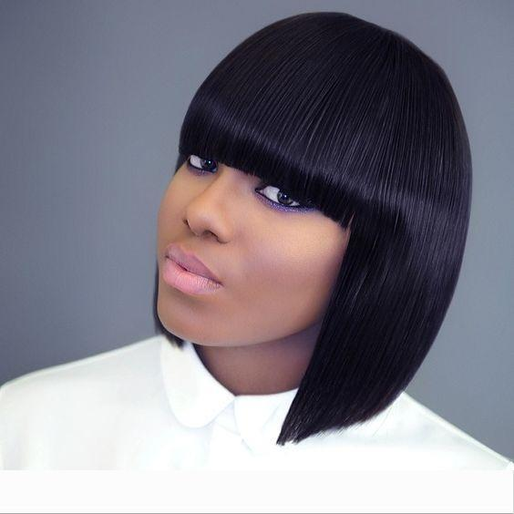 Short Bob Human Hair Full Lace Wig Full Bangs Glueless Short Brazilian Straight Human Hair Wig with fringe for Black Woman 180% density