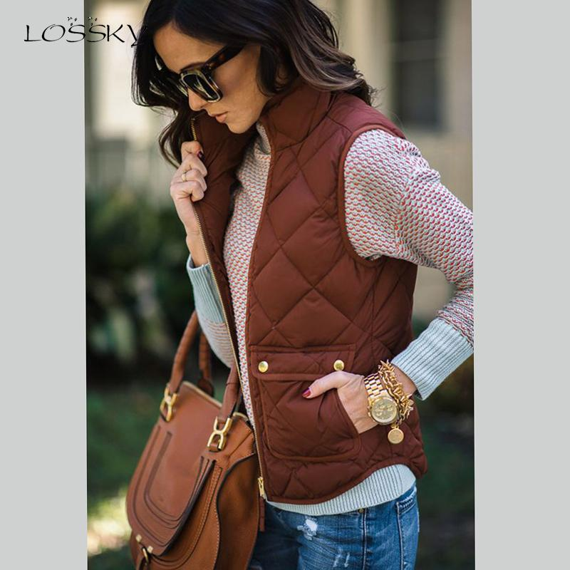 Lossky Women Vest Autumn Stand Collar Pocket Sleeveless Jacket Fashion Bodywarmer Tank Cardigan Coat Tops Plus Size Female 2019
