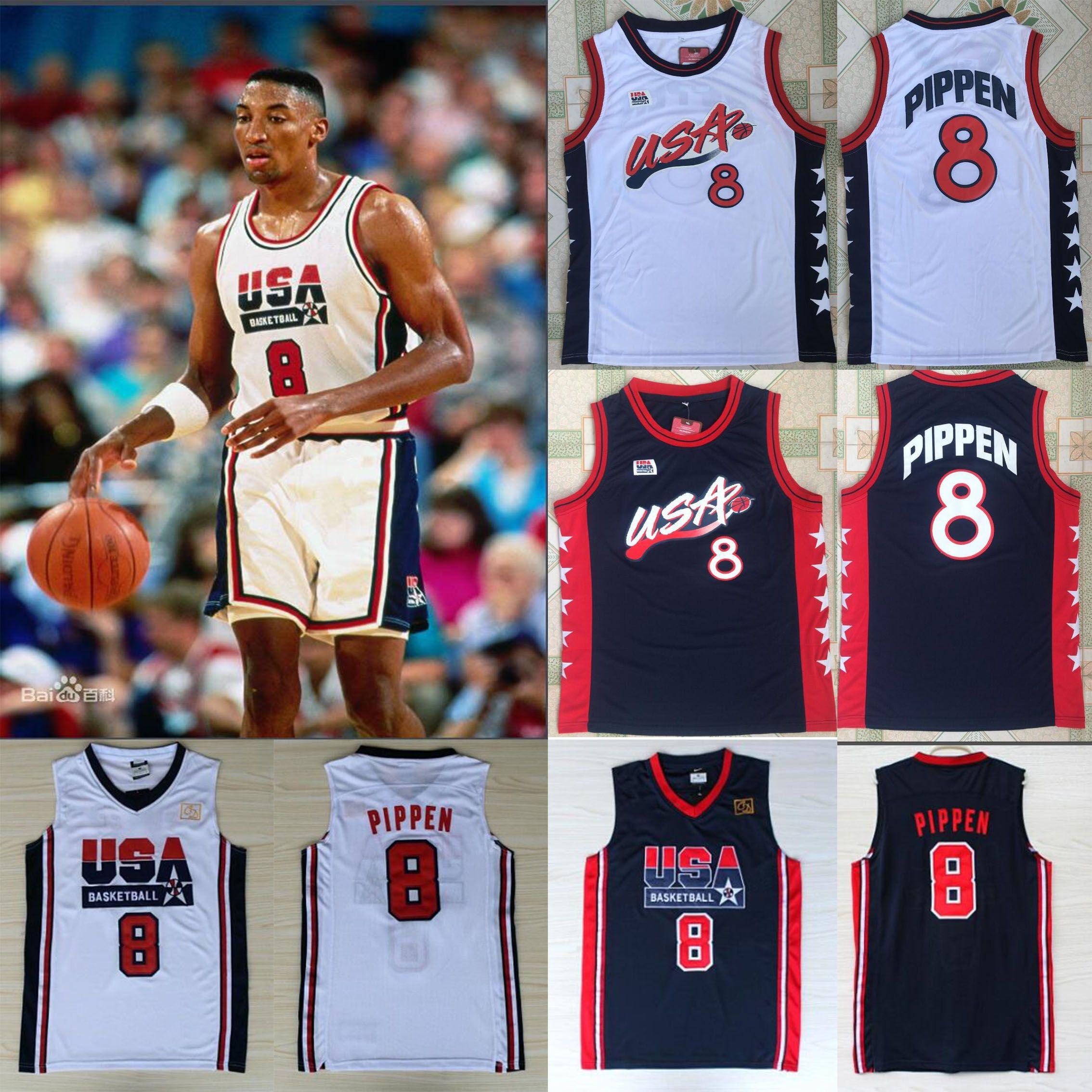 Juegos Olímpicos Dream team # 8 Scottie Pippen Camisetas de baloncesto camiseta de baloncesto tamaño S-XXL