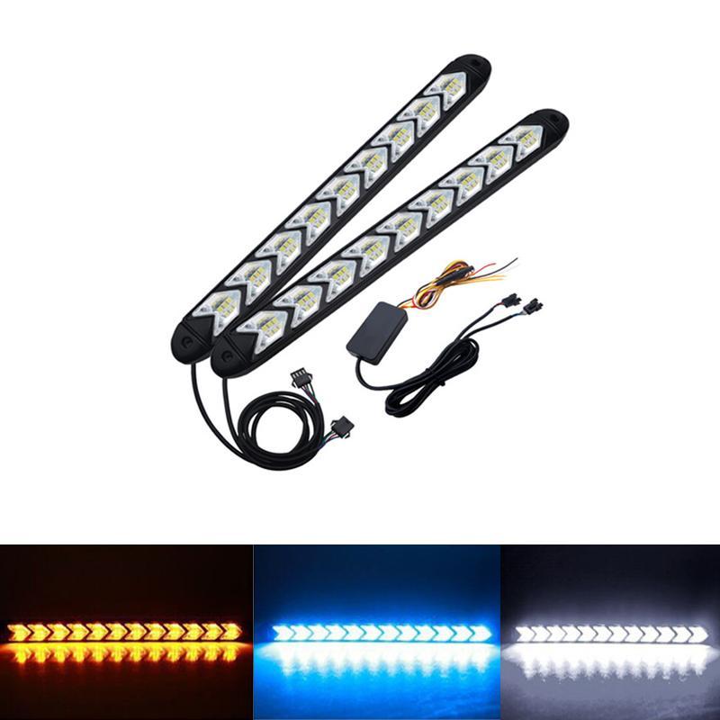 2 adet araba LED DRL dönüş sinyal ışıkları dinamik flama akış Amber Uyarı direksiyon Sis lambası harici ampuller gündüz çalışan ışık
