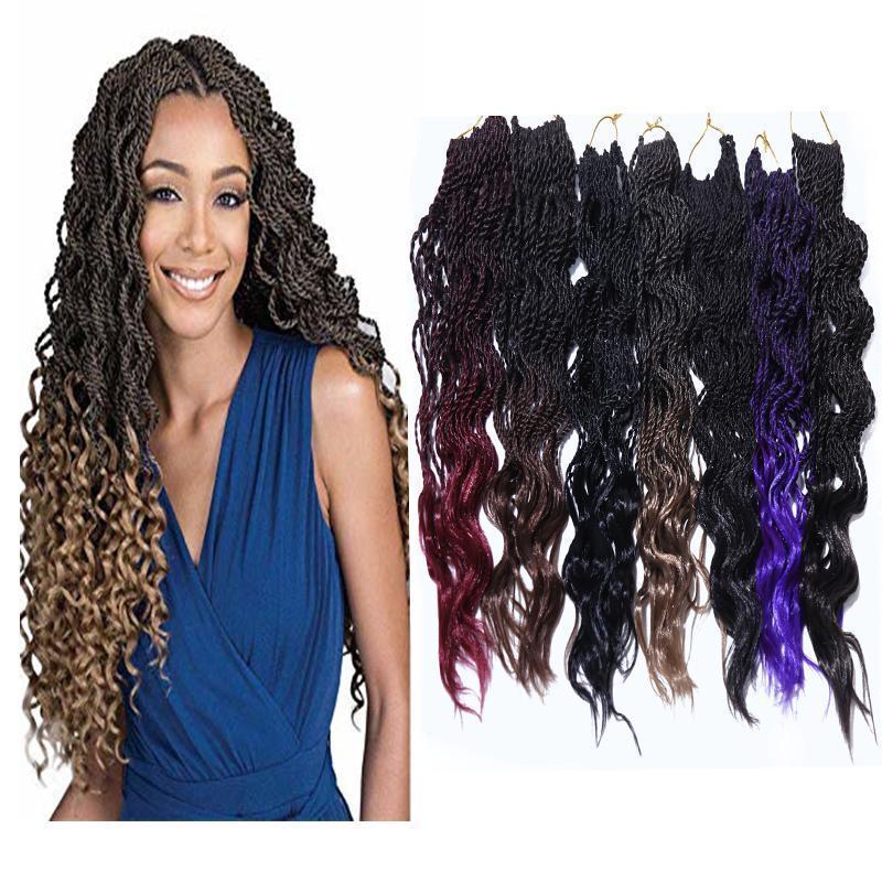 H H A Crochet vague bouclée synthétique Tressage cheveux Extensions Ombre couleur 14inch fibre résistant à la chaleur Kanekalon Twist 80g / Paquet
