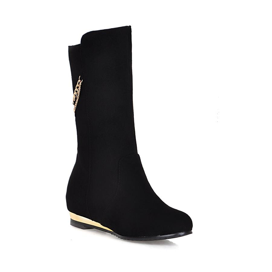 Hot Sale-Spring and Autumn simplified Korean version of the new high chain inside the red black boots GUOT 6355
