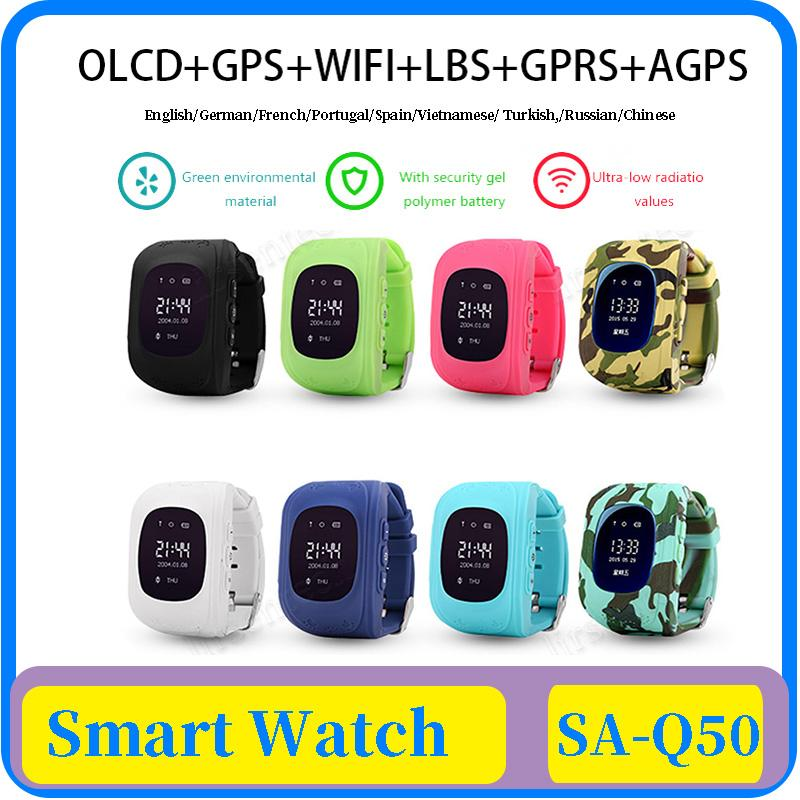 18x Q50 OLED Kids' GPS Watch SOS Call kids Smart Clock Children Wristwatch Finder Locator Tracker Baby Anti-Lost Monitor DHL Free Shipping