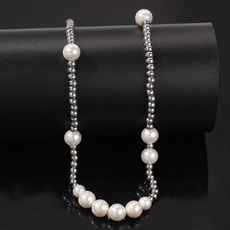 Colar de pérolas de moda-Mens Hip Hop Colar frisada esfera de aço inoxidável jóias clavícula cadeia colar
