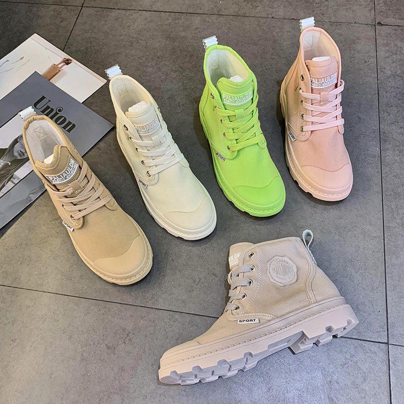 Конфеты высокого верха обуви холст для женщин в обуви тенденции 2019 летом новый корейский дышащий Мартин сапоги досуг британских женщин