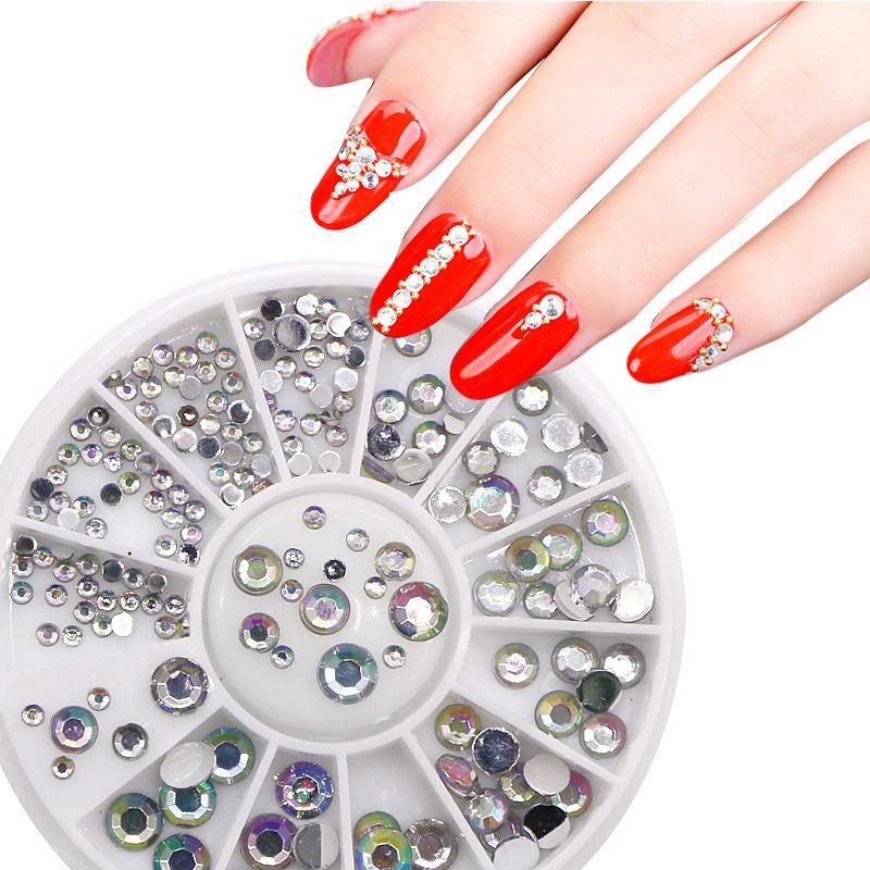 Nail Art Salon Dedicado ya ke li zuan 12 Malha de fundo chato de Prata diamante cor de fundo chato Diamante unhas Rhinestone Disc