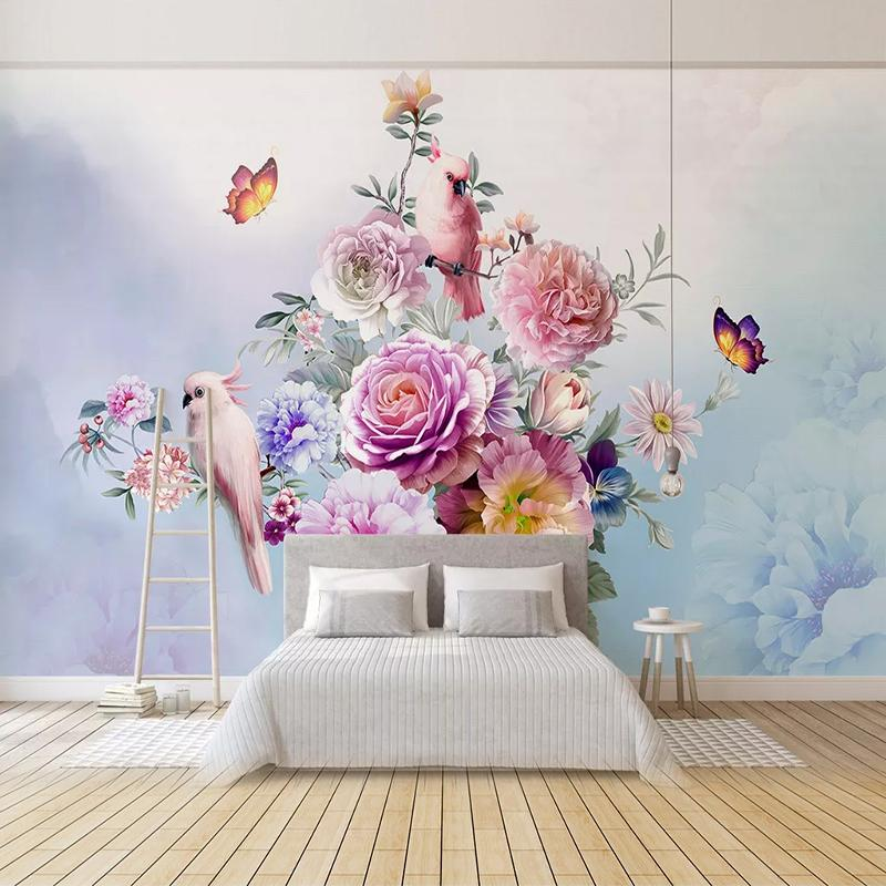 Custom 3D Photo Wallpaper Bedroom Living Room Sofa TV Background Wall Painting Hand Painted Butterfly Flower Bird Pastoral Mural