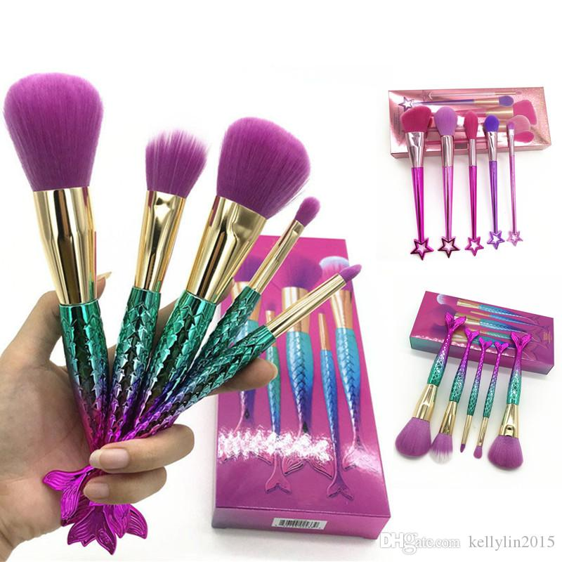 Mermaid Makeup Brushes Set 5pcs Cheek Highlighter Powder Blush Eyeshadow Foundation Brush Cosmetic Make Up Brushes Tools Kits with box