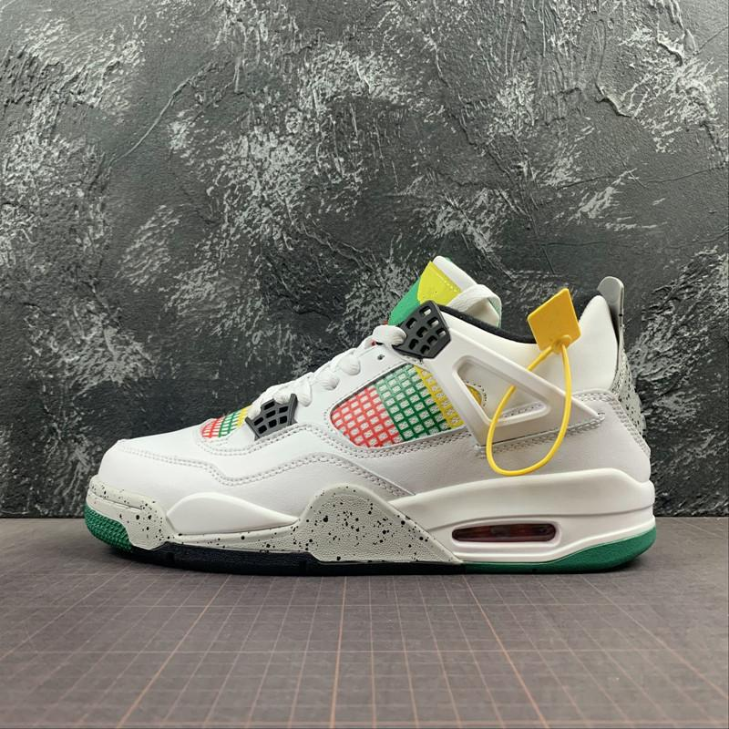 Best Quality 4 NRG Do The Right Thing Basketball Shoes 4s IV White University Red Lucid Green Sports Sneakers Size US7-13