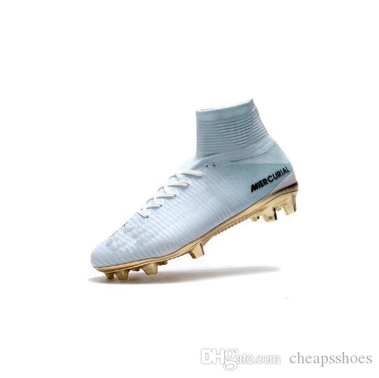 2019 White Gold CR7 Soccer Cleats Mercurial Superfly FG V Kids Soccer Shoes Cristiano Ronaldo Sneakers