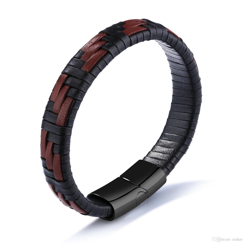 Bracelet en cuir noir et marron pour hommes en textile européen et américain créatif Bracelet en cuir titane simple 3-PH1143