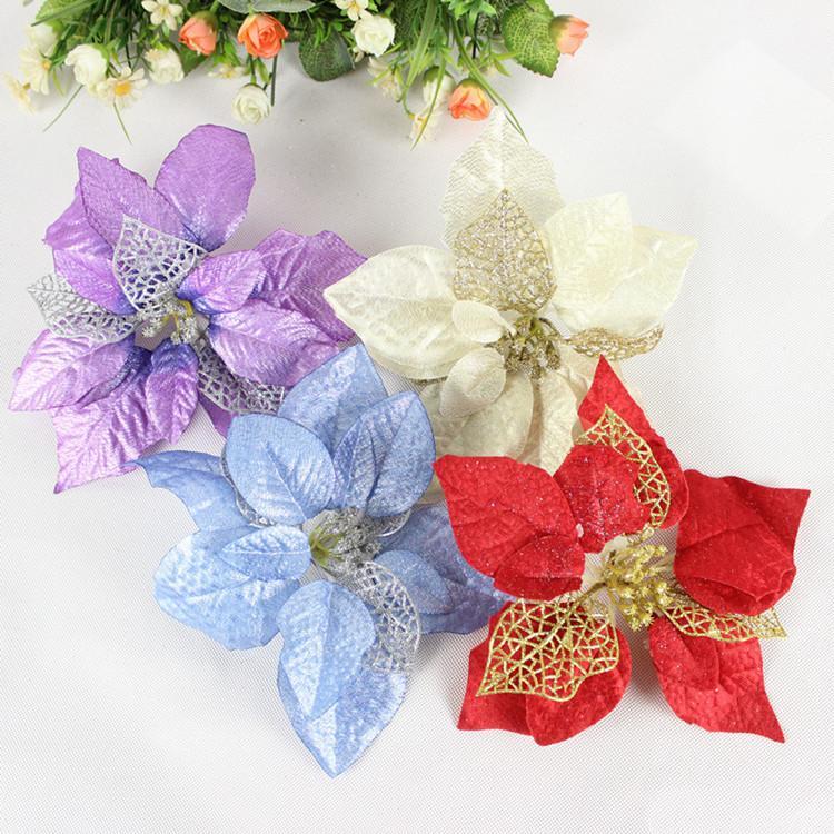 JIMITU 5PCS / LOT Yapay Çiçekler Noel Süsleri Ev Noel ağacı Süsler Noel ağacı yeni yıl için Dekor Navidad 20cm