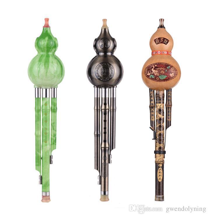 Traditionelle C Key Hulusi Chinesische handgemachte Flöte Gourd Cucurbit Flöte Ethnic Musical Holzblasinstrument