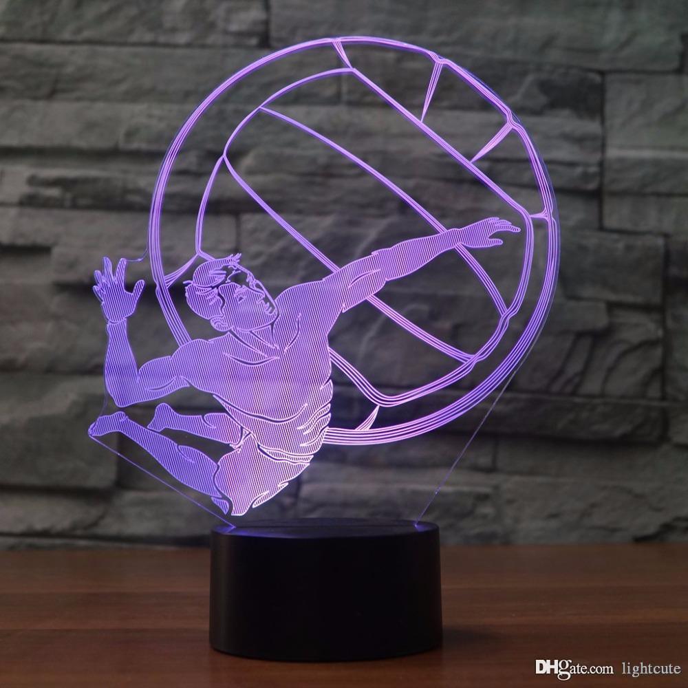 Uzaktan 16 Renkli 3D LED NightLight Dokunmatik Düğme Işık Fikstür Çocuk Hediye Yatak Ara Değişen Voleybol Modelleme Masa Lambası USB Renkler oyna