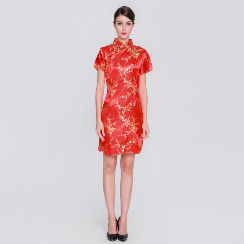 2019 Pop 2019 Plus Size Women Short Qipao Amazing Female Rayon Dress  Elegant Slim Chinese Dress Mandarin Collar Vintage Cheongsam Vestidos From  Tikoy, ...