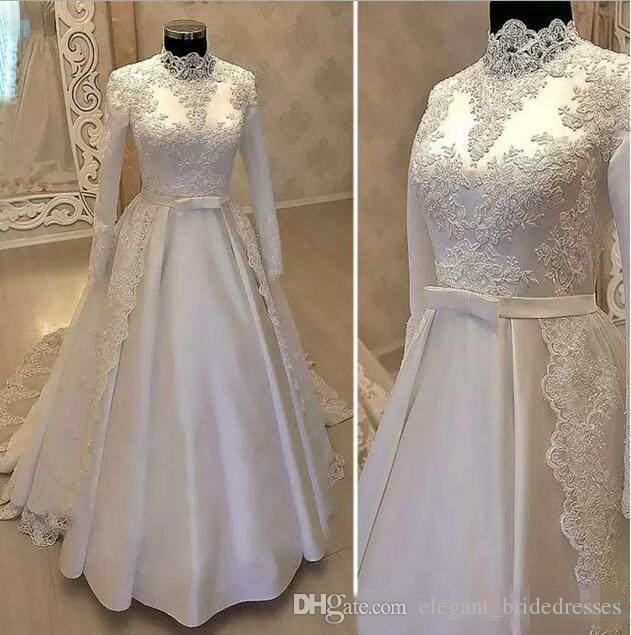 Vintage High Neck Muslim Wedding Dresses 2019 Cheap With Long Sleeve Lace Overskirts Satin Country Bridal Gowns With Belt