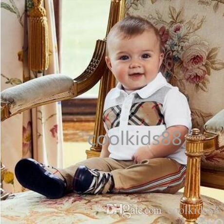 Футболка детская дизайнерская одежда мальчики отложной воротник Baby Boy девушки Летний топ футболка полосы решетки дети топ тройники