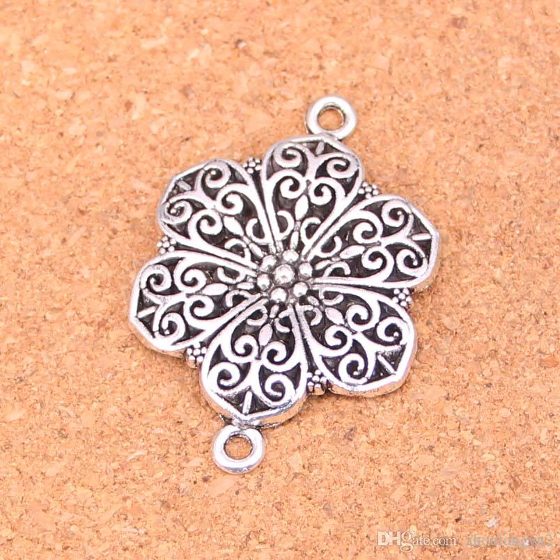 40pcs Charms flower connector Antique Silver Plated Pendants Making DIY Handmade Tibetan Silver Jewelry 40*28mm