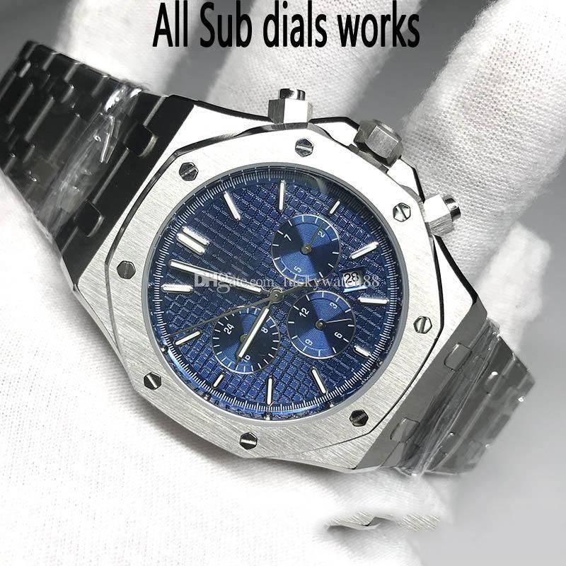 Оптовые мужские часы механизм с автоподзаводом плавное скольжение секундная стрелка сапфировое стекло ROYAL OAK series 15400 все дополнительные циферблаты работает наручные часы