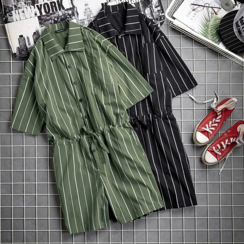 2019 Fashion Men Jumpsuit Striped Rompers Shortsleeve Pockets Loose Pants Hip-hop Playsuit Overalls Men Streetwear S-5XL INCERUN