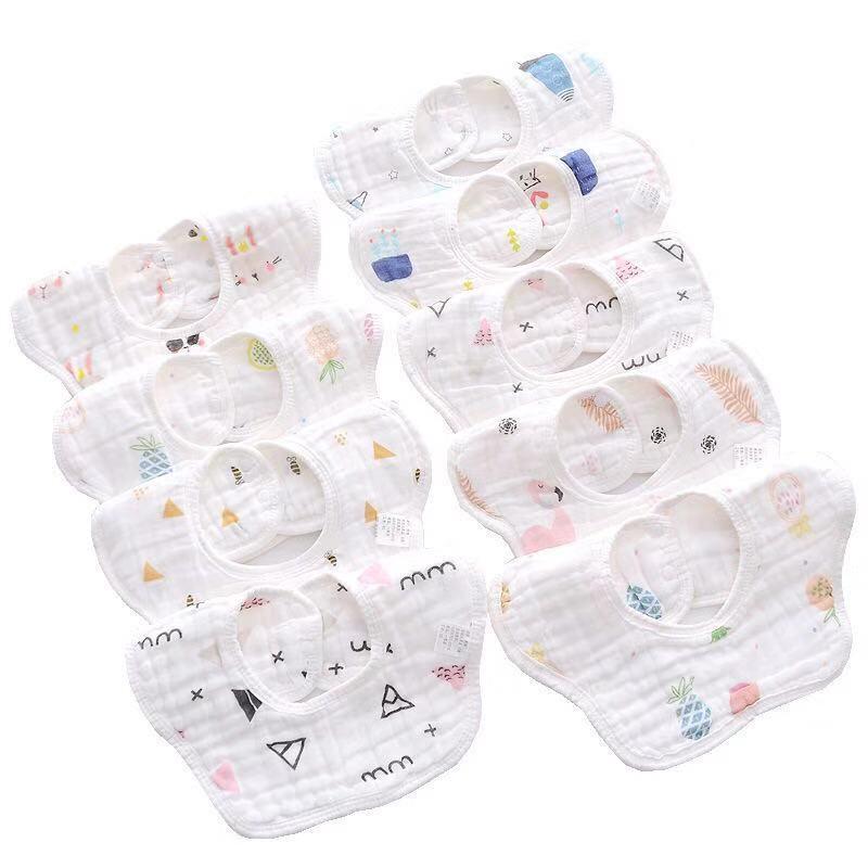 La saliva del bebé recién nacido de la bufanda del babero anti Escupir gasa babero para bebés de algodón 360 grados de rotación de arroz bolsa paños del Burp