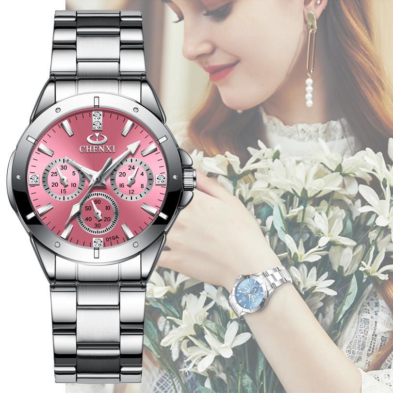 Chenxi 019a Frauen Mode Luxus Uhren Frauen Quarz Armbanduhren Damen Luxus Rhinestone Zifferblatt Wasserdichte Reloj Mujer