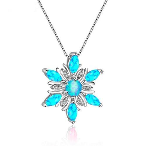 10 PC al por mayor plateado plata del copo de nieve colgante de muchos colores Opalite de ópalo collar de la joyería de regalo de Navidad