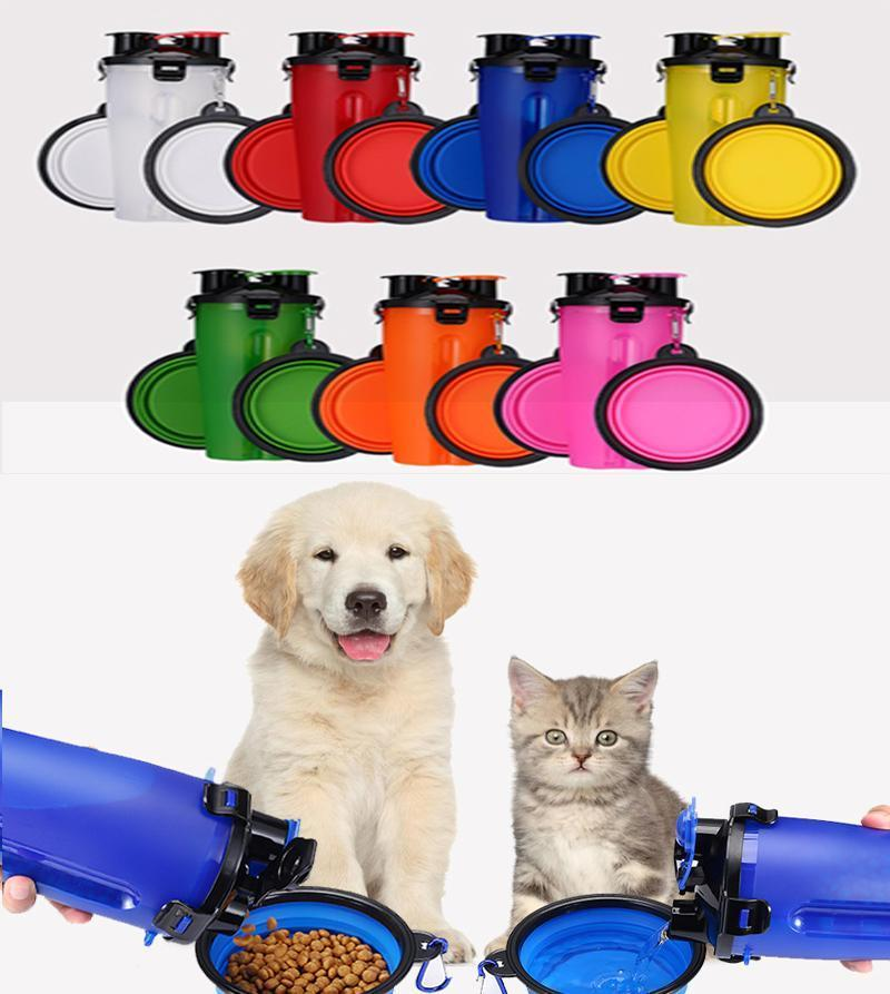 Bottiglia Pet Dog Food acqua portatile pieghevole Pet ciotola da viaggio per cani gatti Acqua potabile all'aperto accessori per la casa cucciolo portatile 24pcs