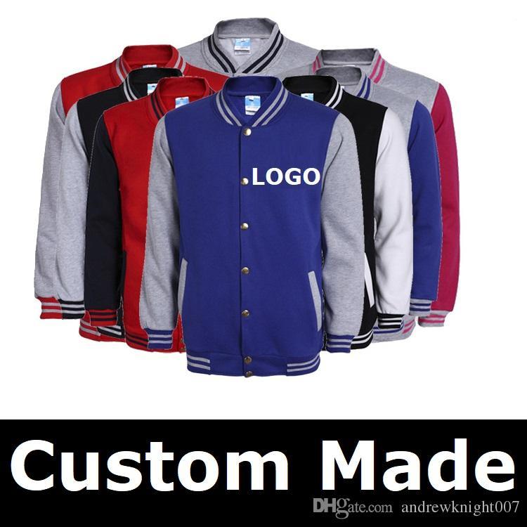 Мужчины Женщины Бейсбол куртка логотип DIY индивидуальный дизайн толстовка спортивная одежда мужчины пальто бомбардировщик куртки 10 цветов S-3XL Бесплатная доставка