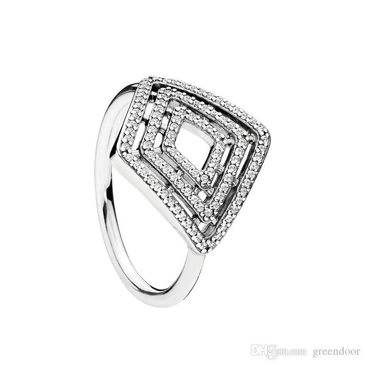 جديدة على شكل خاتم الماس خمر لباندورا 925 الفضة سحر عصابة مربع خط هندسي شخصية أزياء السيدات
