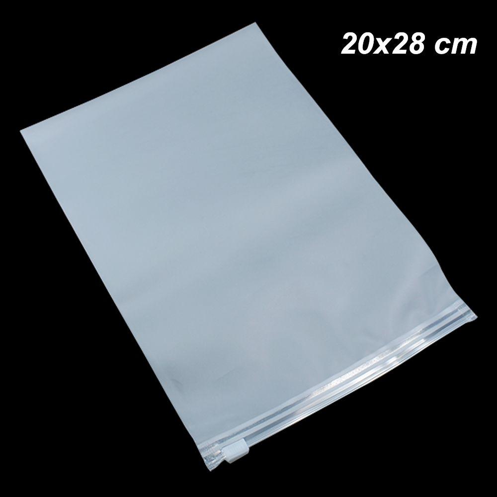 20x28 cm 50pcs Borse autoadesivo plastica opaca trasparente per riporre i vestiti di viaggio con cerniera Poly autoadesive pacchetto di soluzioni di storage Sacchetti