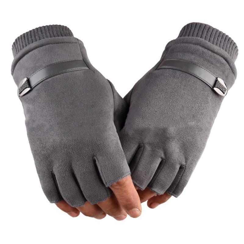 رجال الشتاء الدافئة قفازات أصابع اليد المرأة نصف إصبع القفاز للجنسين رياضة في الهواء الطلق للياقة البدنية لتعليم قيادة السيارات ذكر الجلد المدبوغ قفازات جلدية